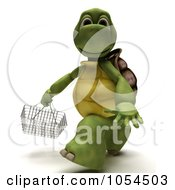 Royalty Free Clip Art Illustration Of A 3d Tortoise Carrying A Shopping Basket