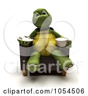Royalty Free Clip Art Illustration Of A 3d Tortoise Sitting With A Snack And Beverage