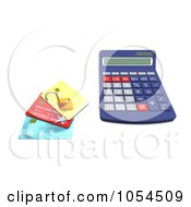 Royalty Free Clip Art Illustration Of A 3d Calculator With A Padlock And Credit Cards 1