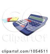 Royalty Free Clip Art Illustration Of A 3d Calculator And Credit Cards 2
