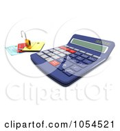 Royalty Free Clip Art Illustration Of A 3d Calculator With A Padlock And Credit Cards 2