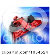 Royalty Free Clip Art Illustration Of A 3d Speeding Formula One Race Car On Blue by KJ Pargeter