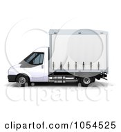 Royalty Free Clip Art Illustration Of A 3d Side View Of A Small Truck by KJ Pargeter