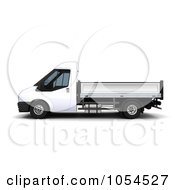 Royalty Free Clip Art Illustration Of A 3d Side View Of A Small Flatbed Van