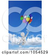 Royalty Free Clip Art Illustration Of A 3d White Character Floating In The Sky With Birthday Balloons