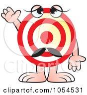 Royalty Free Vector Clip Art Illustration Of A Target Character Waving by Lal Perera