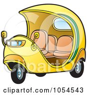 Royalty Free Vector Clip Art Illustration Of A Yellow Cuban Tuk Tuk by Lal Perera