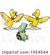 Royalty Free Vector Clip Art Illustration Of A Tortoise Flying With Birds by Lal Perera