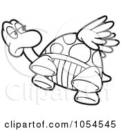 Royalty Free Vector Clip Art Illustration Of An Outlined Flying Tortoise by Lal Perera