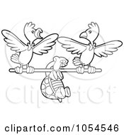 Royalty Free Vector Clip Art Illustration Of An Outlined Tortoise Flying With Birds by Lal Perera