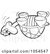 Royalty Free Vector Clip Art Illustration Of An Outlined Upside Down Tortoise by Lal Perera