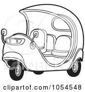 Royalty Free Vector Clip Art Illustration Of An Outlimned Cuban Tuk Tuk by Lal Perera
