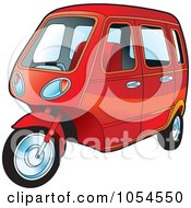 Royalty Free Vector Clip Art Illustration Of A Red Tuk Tuk by Lal Perera