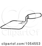 Royalty Free Vector Clip Art Illustration Of An Outlined Mason Trowel Tool