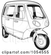 Royalty Free Vector Clip Art Illustration Of An Outlined Tuk Tuk by Lal Perera