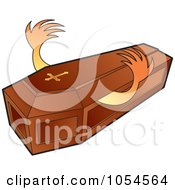 Royalty Free Vector Clip Art Illustration Of Hands Reaching Out From A Wooden Coffin