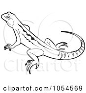Royalty Free Vector Clip Art Illustration Of An Outlined Lizard by Lal Perera