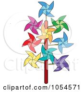 Royalty Free Vector Clip Art Illustration Of Colorful Pinwheels by Lal Perera
