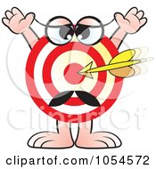 Royalty Free Vector Clip Art Illustration Of An Arrow On A Target Character