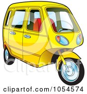 Royalty Free Vector Clip Art Illustration Of A Yellow Tuk Tuk by Lal Perera