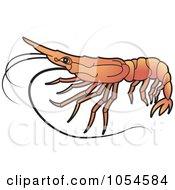Royalty Free Vector Clip Art Illustration Of An Orange Prawn by Lal Perera