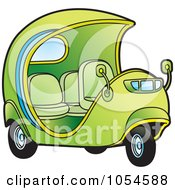 Royalty Free Vector Clip Art Illustration Of A Green Cuban Tuk Tuk