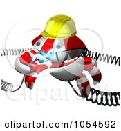 Royalty Free Rendered Clip Art Illustration Of A 3d Red Crab Engineer With Electric Cables 1