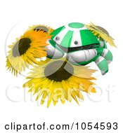 Royalty Free Rendered Clip Art Illustration Of A 3d Green Crab On Sunflowers