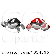 Royalty Free Rendered Clip Art Illustration Of 3d Red And Black Crabs