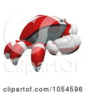 Royalty Free Rendered Clip Art Illustration Of A 3d Red Crab In Profile