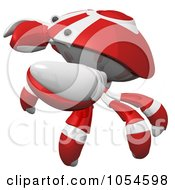 Royalty Free Rendered Clip Art Illustration Of A 3d Red Crab In Defense Pose