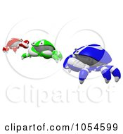 Royalty Free Rendered Clip Art Illustration Of 3d Blue Green And Red RGB Crabs by Leo Blanchette