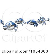 Royalty Free Rendered Clip Art Illustration Of A 3d Line Of Blue Crabs
