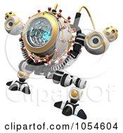 Royalty Free Rendered Clip Art Illustration Of A 3d Malware Incinerator Robot