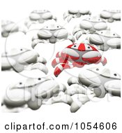 Royalty Free Rendered Clip Art Illustration Of A 3d Red Crab Leading An Army Of White Crabs