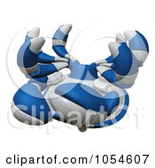 Royalty Free Rendered Clip Art Illustration Of A 3d Blue Tipped Crab