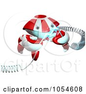 Royalty Free Rendered Clip Art Illustration Of A 3d Red Crab Holding Electrical Cables