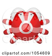 Royalty Free Rendered Clip Art Illustration Of A Top View Of A 3d Red Crab by Leo Blanchette