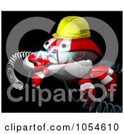 Royalty Free Rendered Clip Art Illustration Of A 3d Red Crab Engineer With Electric Cables 2