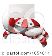 Royalty Free Rendered Clip Art Illustration Of A 3d Red Crab Holding A Business Card