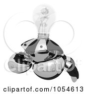 Royalty Free Rendered Clip Art Illustration Of A 3d Black Crab With A Clear Light Bulb 1