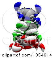 Royalty Free Rendered Clip Art Illustration Of 3d Blue Green And Red Crabs 2