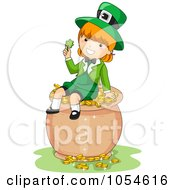 Royalty Free Vector Clip Art Illustration Of A St Patricks Day Leprechaun Girl Holding A Clover On A Pot Of Gold