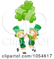 St Patricks Day Leprechaun Boy And Girl With Shamrock Balloons
