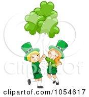 Royalty Free Vector Clip Art Illustration Of A St Patricks Day Leprechaun Boy And Girl With Shamrock Balloons