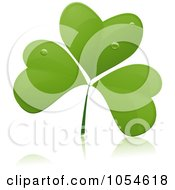 Royalty Free Vector Clip Art Illustration Of A Dewy Green Clover And Reflection