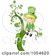 Royalty Free Vector Clip Art Illustration Of A St Patricks Day Leprechaun Girl Sitting On A Shamrock Vine by BNP Design Studio