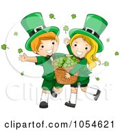 Royalty Free Vector Clip Art Illustration Of A St Patricks Day Leprechaun Boy And Girl Carrying A Basket Of Shamrocks