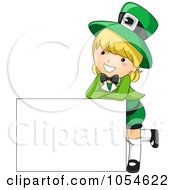 Royalty Free Vector Clip Art Illustration Of A Cute St Patricks Day Girl Leaning On A Blank Sign