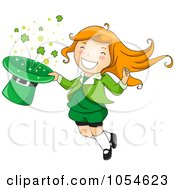 Royalty Free Vector Clip Art Illustration Of A St Patricks Day Leprechaun Girl Jumping With A Hat Of Shamrocks